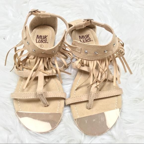 4143d4e72545 Muk Luks 6 Fringe Strappy Studded Sandals Shoes